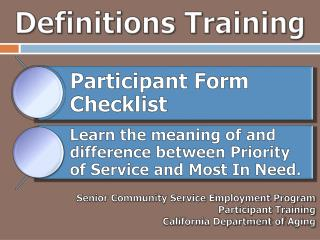 Definitions Training