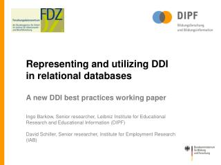 Representing and utilizing  DDI in relational  databases A  new  DDI  best practices working paper