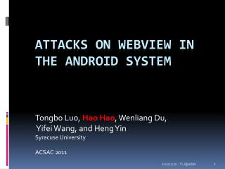 Attacks on WebView in the Android System