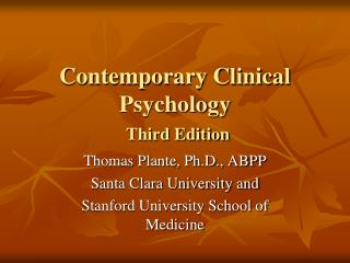 Contemporary Clinical Psychology Third Edition