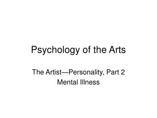 Psychology of the Arts