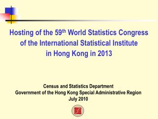 Census and Statistics Department Government of the Hong Kong Special Administrative Region
