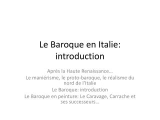 Le Baroque en Italie : introduction