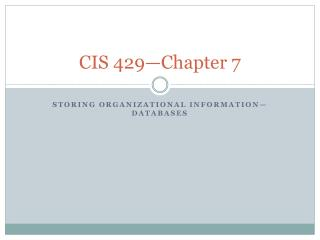 CIS 429—Chapter 7