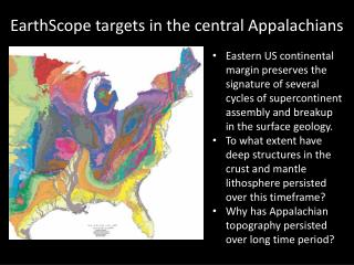 EarthScope  targets in the central Appalachians