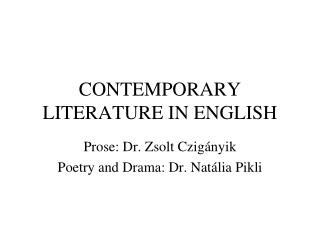 CONTEMPORARY LITERATURE IN ENGLISH