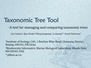 Taxonomic Tree Tool