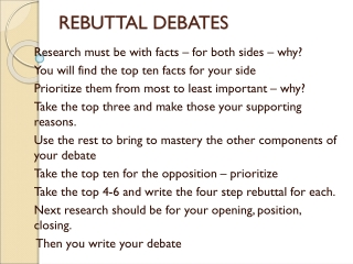Debate: Analysis and Argumentation