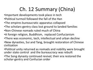 Ch. 12 Summary (China)