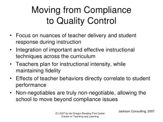 Moving from Compliance to Quality Control