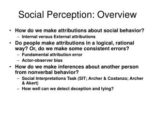 Social Perception: Overview