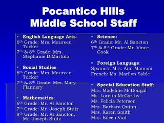 Pocantico Hills  Middle School Staff