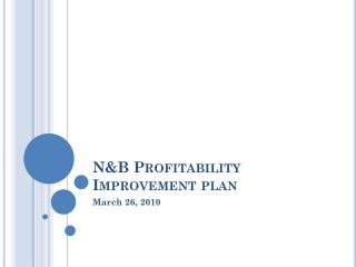N&B Profitability Improvement plan