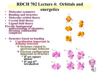 RDCH 702 Lecture 4:  Orbitals  and energetics