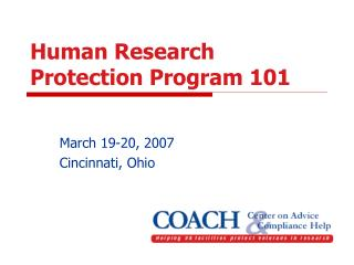 Human Research Protection Program 101