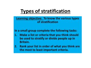 Types of stratification