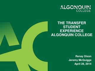 The Transfer Student Experience Algonquin College