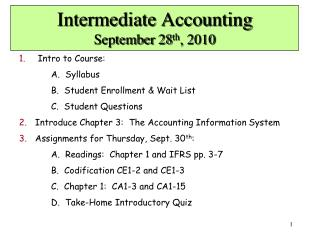 Intermediate Accounting September 28 th , 2010