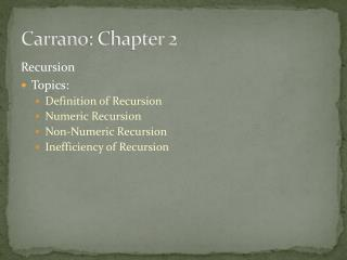 Carrano : Chapter 2