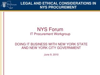 NYS Forum  IT Procurement Workgroup
