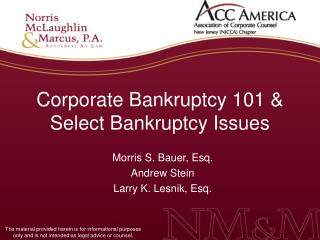 Corporate Bankruptcy 101 & Select Bankruptcy Issues