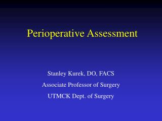Perioperative Assessment