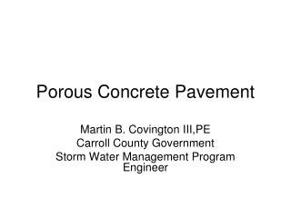 Porous Concrete Pavement