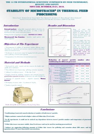 STABILITY OF MICROTRACER ® IN THERMAL FEED PROCESSING