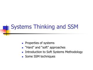 Systems Thinking and SSM