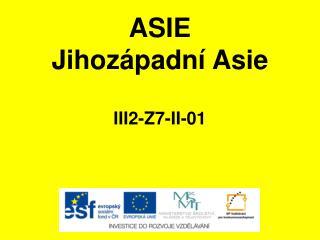 ASIE Jihozápadní Asie III2-Z7-II-01