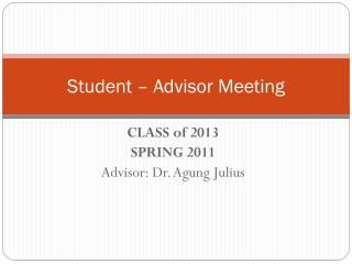 Student – Advisor Meeting