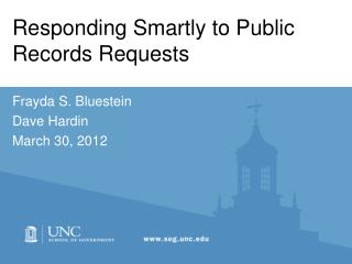 Responding Smartly to Public Records Requests