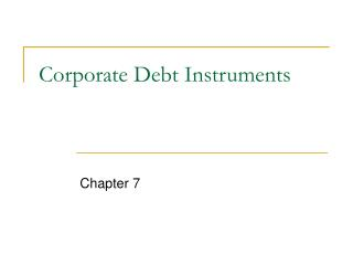 Corporate Debt Instruments