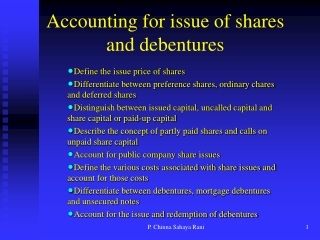 Accounting for issue of shares and debentures