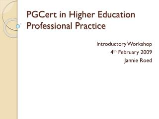PGCert  in Higher Education Professional Practice