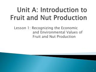 Unit A: Introduction to Fruit  and Nut  Production