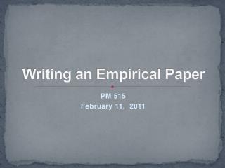 Writing an Empirical Paper