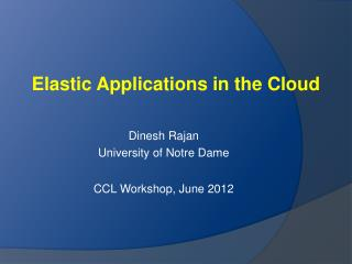 Elastic Applications in the Cloud