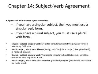 Chapter 14: Subject-Verb Agreement