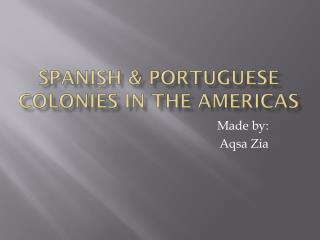 Spanish &  portuguese  colonies in the  americas
