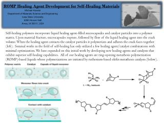 ROMP Healing Agent Development for Self-Healing Materials
