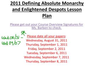 2011 Defining Absolute Monarchy and Enlightened Despots Lesson Plan