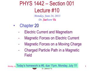 PHYS  1442  – Section  001 Lecture  #10