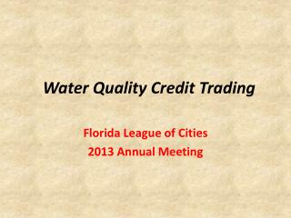 Water Quality Credit Trading