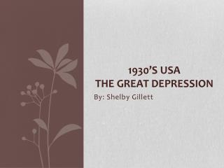 1930'S USA The great DEPRESSION
