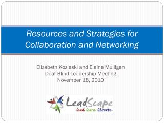 Resources and Strategies for Collaboration and Networking