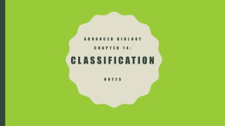Advanced biology chapter 14: classification NOTES