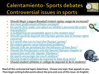 Calentamiento - Sports debates Controversial issues in sports