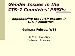 Gender Issues in the CIS-7 Countries' PRSPs
