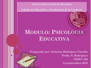 Modulo:  Psicologia Educativa